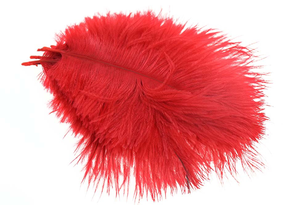 Micro Ostrich Spey Plumes - Red